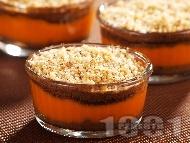 Рецепта Бърз и лесен домашен крем десерт от тиква, бисквити и орехи